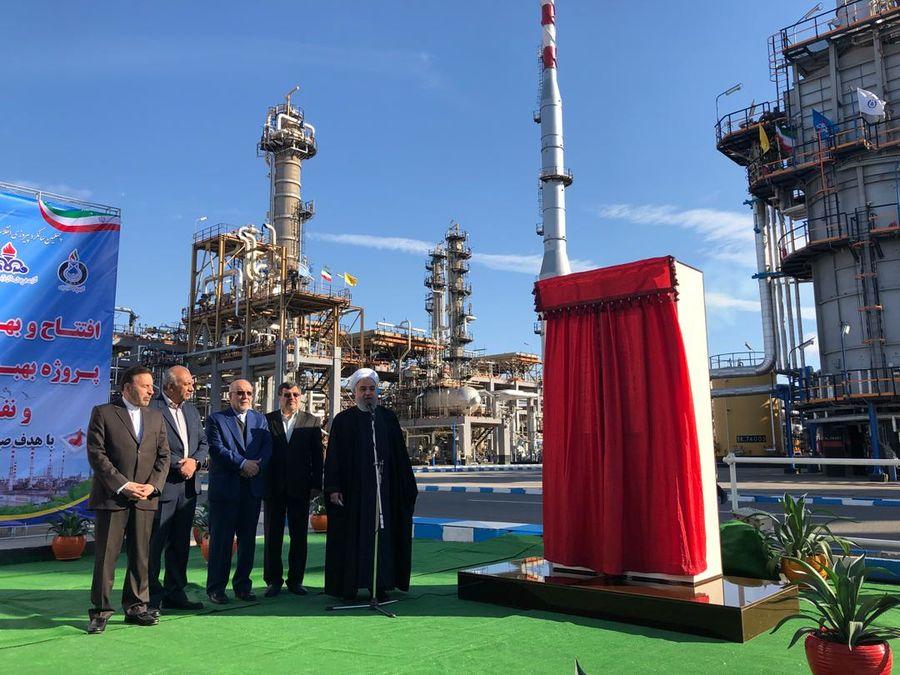 طرح افزایش ظرفیت و بهبود کیفیت بنزین و نفت گاز پالایشگاه بندرعباس افتتاح شد