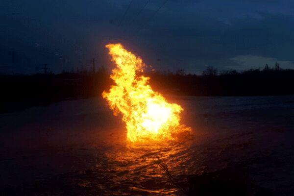 رفع آسیبدیدگی لوله گاز عبوری از بستر رودخانه در قزوین