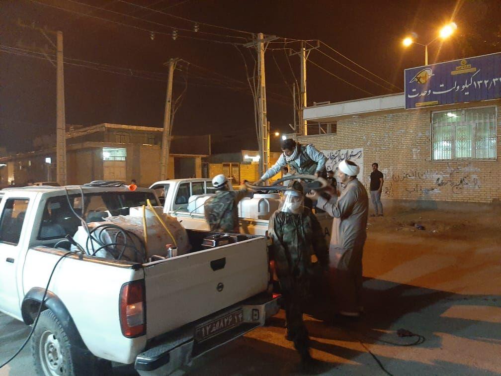 ضدعفونی حاشیه شهر اهواز به همت بسیجیان خطوط لوله منطقه خوزستان