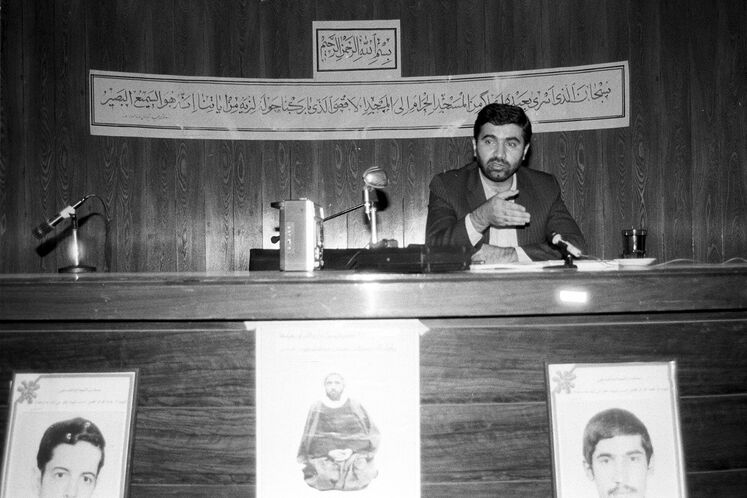 Kazempour addressing students, Tehran University, 1986