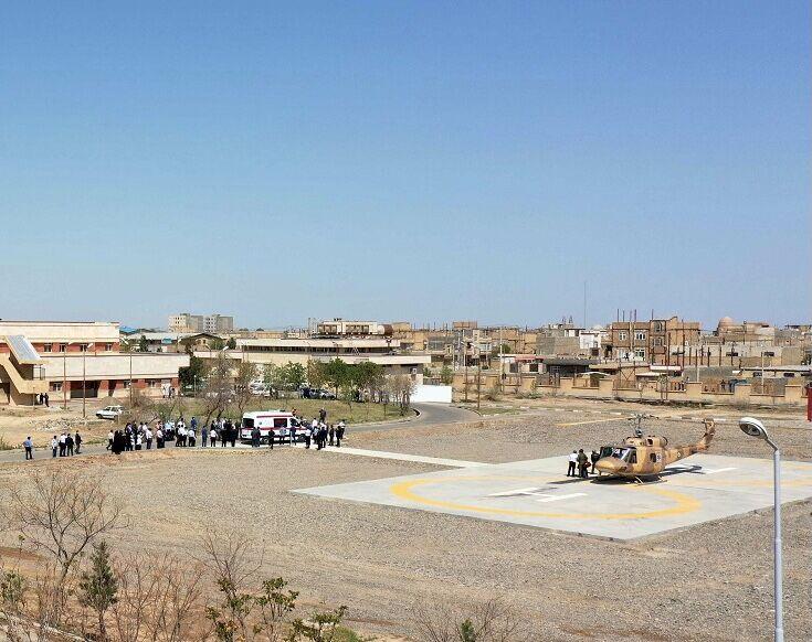 هلیپد اورژانس هوایی بیمارستان لقمان حکیم سرخس راهاندازی شد