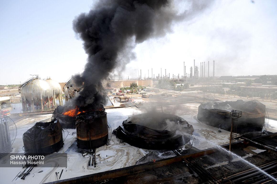 روز دوم عملیات اطفای حریق مخازن پالایشگاه تهران